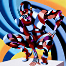 "Mark Webster - Edison - Abstract Geometric Futurist Figurative Oil Painting by Mark Webster Oil ~ 36"" x 36"""