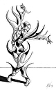 """Mark Webster - Irina V. 14-03 - Abstract Geometric Futurist Figurative Ink Drawing by Mark Webster Ink ~ 8"""" x 5"""""""