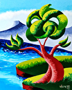 """Mark Webster - Abstract Geometric Futurist Landscape Oil Painting 13.9.24 by Mark Webster Oil ~ 10"""" x 8"""""""