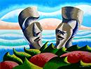 "Mark Webster - Watercooler Moment on Easter Island by Mark Webster Oil ~ 12"" x 9"""