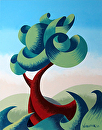 """Mark Webster - Abstract Geometric Futurist Landscape Oil Painting 13.10.2 by Mark Webster Oil ~ 10"""" x 8"""""""