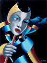 Mark Webster - Untitled Abstract Mask Oil Painting on Canvas by Mark Webster Oil ~ 12 x 9