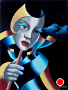 Mark Webster - Untitled Abstract Mask Oil Painting on Canvas Panel by Mark Webster Oil ~ 12 x 9