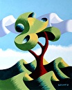 Mark Webster - Untitled Abstract Landscape Oil Painting 12-4-13 by Mark Webster Oil ~ 10 x 8