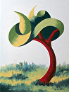 Mark Webster - Untitled Abstract Landscape Oil Painting 12-5-13 by Mark Webster Oil ~ 8 x 6