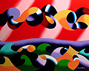 Mark Webster - Abstract Geometric Ocean Seascape Oil Painting 2013-12-06 by Mark Webster Oil ~ 8 x 10