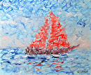 Mark Adam Webster - Impressionist Sailboat Oil Painting by Mark Webster Oil ~ 8 x 10