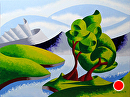 "Mark Adam Webster - Abstract Geometric Mountain River Landscape Oil Painting 4.2.14 by Mark Webster Oil ~ 9"" x 12"""