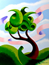 Mark Adam Webster - Abstract Geometric Landscape Oil Painting 4.3.14 by Mark Webster Oil ~ 12 x 9