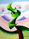 Mark Adam Webster - Abstract Geometric  Landscape Oil Painting 4.4.14 by Mark Webster Oil ~ 8 x 6