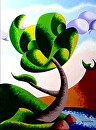 Mark Adam Webster - Oak Tree at Sunset Abstract Geometric Futurist Landscape Painting by Mark Webster Oil ~ 12 x 9