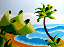 Mark Webster - Abstract Geometric Island with Palm Tree Seascape Oil Painting by Mark Webster Oil ~ 9 x 12