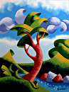 Mark Adam Webster - Abstract Geometric Landscape Oil Painting 9.4.14 by Mark Webster Oil ~ 12 x 9