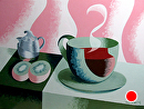 Mark Adam Webster - Abstract Geometric Coffee Cup with Kiwis Oil Painting by Mark Webster Oil ~ 9 x 12