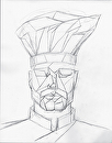 Preliminary Sketch for Geometric Chef Portrait Acrylic Painting by Mark Webster Graphite ~ 14 x 11