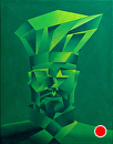 Mark Adam Webster - Abstract Geometric Chef Acrylic Painting by Mark Webster Acrylic ~ 14 x 11