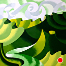 Mark Adam Webster - Abstract Geometric Grand Canyon in Green Oil Painting by Mark Webster Oil ~ 24 x 24