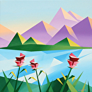 Abstract Sunrise at the Mountain Lake by Mark Webster Acrylic ~ 20 x 20