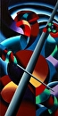 "Futurist Cellist Painting by Mark Webster Oil ~ 30"" x 15"""