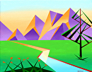 "Abstract Geometric Mountain River at Sunset with Flowers Acrylic Painting by Mark Webster Acrylic ~ 16"" x 20"""