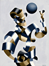 "Man of the Future - Abstract Futurist Figurative Oil Painting by Mark Webster Oil ~ 24"" x 18"""
