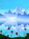 "Mark Webster - Abstract Rocky Mountain Lake Reflection with Red Flowers Abstract Painting by Mark Webster Acrylic ~ 48"" x 36"""