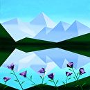 """Abstract Mountain Lake with Purple Flowers by Mark Webster Acrylic ~ 36"""" x 36"""""""