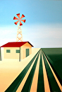 "Abstract Windmill Painting by Mark Webster Acrylic ~ 36"" x 24"""