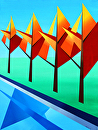 "Mark Webster - Abstract Autumn Trees by the River Acrylic Painting by Mark Webster Acrylic ~ 24"" x 18"""