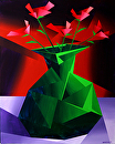 "Mark Webster - Abstract Red Roses in Green Vase Prism Acrylic Painting by Mark Webster Acrylic ~ 20"" x 16"""
