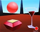 """Abstract Cubism - Glass of Wine on Planet X - Oil and Acrylic Painting by Mark Webster Acrylic ~ 8"""" x 10"""""""