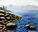 """Small Mountain Lake Rocky Shores - 5x6"""" - Original Acrylic Painting by Sacramento Artist Mark Webster by Mark Webster Acrylic ~ 5"""" x 6"""""""