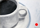 "Coffee Cup Oil Painting - Black and White Oil Painting by Northern California Artist Mark Webster by Mark Webster Oil ~ 5"" x 7"""