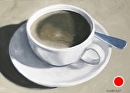 "Coffee Cup with Spoon Oil Painting 02/13/2010 - Black and White Oil Painting by Mark Webster Oil ~ 5"" x 7"""