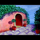 """Tuscan Villa Painting Near Dusk - Original Painting by Northern California Artist Mark Webster by Mark Webster Acrylic ~ 9"""" x 12"""""""