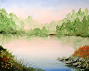 """Misty Sunrise Foothill Lake Oil Painting - Original Oil Painting by Northern California Artist Mark Webster by Mark Webster Oil ~ 8"""" x 10"""""""