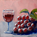 "Small Glass of Wine with Grapes Oil Painting by Mark Webster Oil ~ 6"" x 6"""