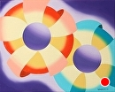 """Abstract Futurist Flowers #3 by Northern California Artist Mark Webster by Mark Webster Oil ~ 8"""" x 10"""""""