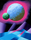 "Planet X Abstract Acrylic Landscape Painting by Mark Webster Acrylic ~ 14"" x 11"""