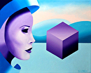 "Mask Cubed - Abstract Oil and Acrylic (Mixed Media) Painting by Mark Webster Oil and Acrylic (Mixed Media) ~ 8"" x 10"""