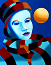 "Mark Webster - Abstract Blue Mask with Gold Sphere Oil Painting by Mark Webster Oil ~ 14"" x 11"