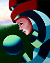 "Mark Webster - Eos - Abstract Mask Oil Painting with Sphere by Mark Webster Oil ~ 20"" x 16"""