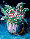 "Abstract Red Roses in Vase Acrylic Palette Knife Painting by Mark Webster Acrylic ~ 14"" x 11"""
