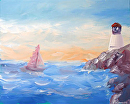 "Sailboat near the Lighthouse Acrylic Painting by Northern California Artist Mark Webster by Mark Webster Acrylic ~ 8"" x 10"""