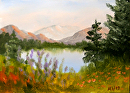 "Mountain Lake Landscape Oil Painting #1  by Northern California Artist Mark Webster by Mark Webster Oil ~ 5"" x 7"""