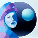 """Untitled Mask Sphere Oil Painting by Artist Mark Webster by Mark Webster Oil ~ 10"""" x 10"""""""