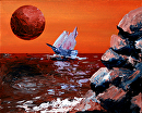 """Sailing off of the Edge of Planet X Acrylic Painting by Northern California Artist Mark Webster by Mark Webster Acrylic ~ 8"""" x 10"""""""
