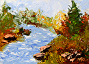 "Abstract Creek Palette Knife Oil Painting 242 byArtist Mark Webster by Mark Webster Oil ~ 5"" x 7"""