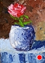"Rose in Vase Abstract Palette Knife Acrylic Painting by Northern California Artist Mark Webster by Mark Webster Oil ~ 7"" x 5"""