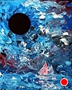 "Black Hole Rise at the Bay Palette Knife Acrylic Painting by Artist Mark Webster by Mark Webster Acrylic ~ 10"" x 8"""